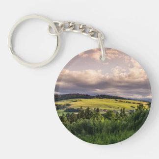 Nature Sunset Hills Landscape In Poland Single-Sided Round Acrylic Keychain
