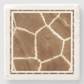 Nature Textured Photo Giraffe Animal Print Pattern Stone Beverage Coaster