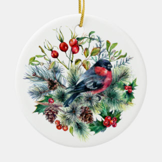 Nature Theme Bullfinch Pine Branches Pine Cones Ceramic Ornament