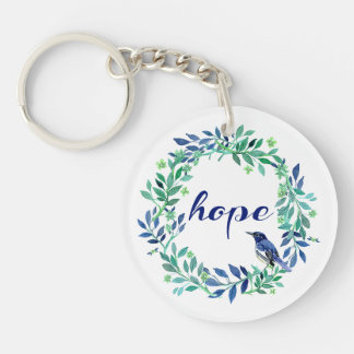 Nature Themed Hope Quote Double-Sided Round Acrylic Keychain