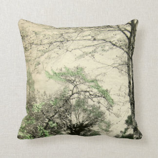 Nature Tree Branch Vintage Green Cream Leaves Throw Pillow