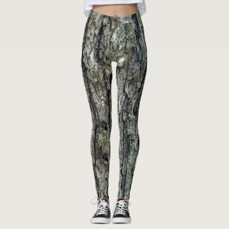 Nature Tree Old Pine Bark Photo Leggings