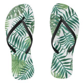 Nature watercolor tropical palm Adult, Slim Straps Flip Flops