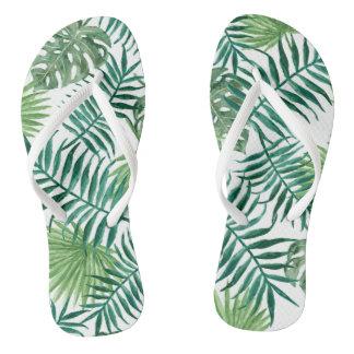Nature watercolor tropical palm Adult, Slim Straps Flip Flops