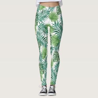 Nature watercolor tropical palm leaves Leggings