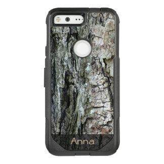 Nature Wood Old Pine Bark Photo Custom Text OtterBox Commuter Google Pixel Case