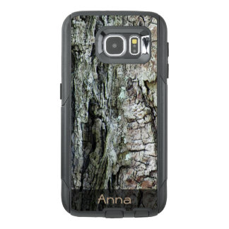 Nature Wood Old Pine Bark Photo Custom Text OtterBox Samsung Galaxy S6 Case