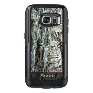 Nature Wood Old Pine Bark Photo Custom Text OtterBox Samsung Galaxy S7 Case