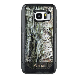 Nature Wood Old Pine Bark Photo Custom Text OtterBox Samsung Galaxy S7 Edge Case
