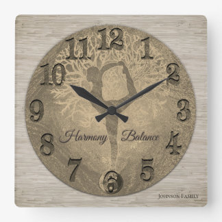 Nature Yoga Tree of Life Square Wall Clock