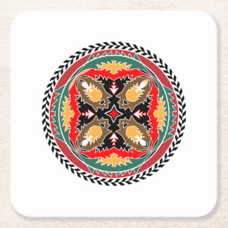 Naturea Lover's Forest Pine Cone Tribal Design Square Paper Coaster