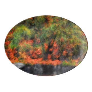 Nature's Autum Reflections Woodland Painting Porcelain Serving Platter