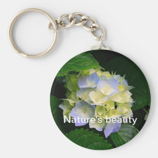 Nature's beauty basic round button keychain