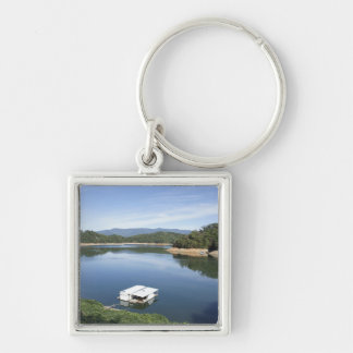 Natures Blues Silver-Colored Square Keychain