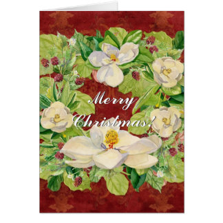 Nature's Christmas Magnolia Wreath n Pine Boughs Card