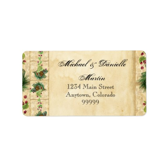 Nature's Christmas Magnolia Wreath n Pine Boughs Label
