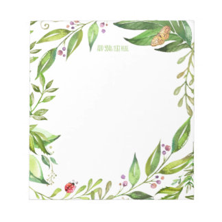 Natures Garden Foliage | Add Your Own Monogram Notepad