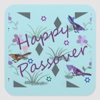 Nature's Garden Happy Passover Square Sticker