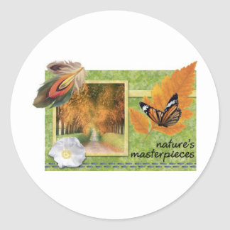 Natures masterpieces classic round sticker