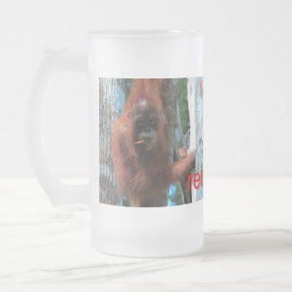 Nature's Redhead: the red ape Frosted Glass Beer Mug