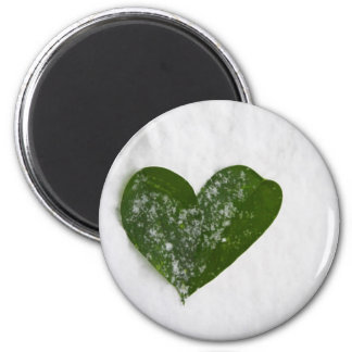 Nature's Winter Snow Romantic Heart of Love 2 Inch Round Magnet