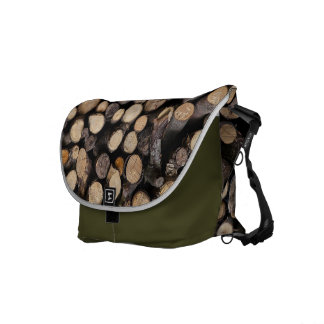 Natures wooden logs pattern messenger bags