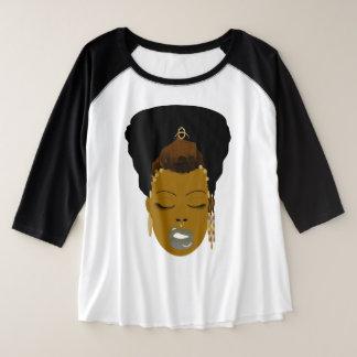 Naturtude Black Headwrap Queen Plus Size Raglan T-Shirt
