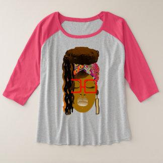 Naturtude Black Headwrap Queen w/glasses Plus Size Raglan T-Shirt