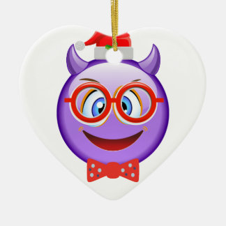 Naughty and Geeky at Christmas Emoji Ceramic Ornament