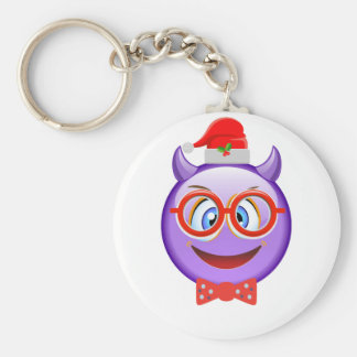 Naughty and Geeky at Christmas Emoji Keychain