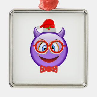 Naughty and Geeky at Christmas Emoji Metal Ornament