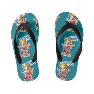 naughty boy cartoon style illustration kid's flip flops