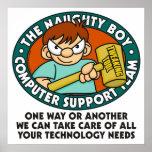 Naughty Boy Computer Tech Poster