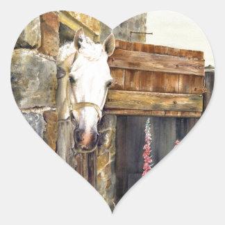 'Naughty Boy' white horse in a barn Heart Sticker
