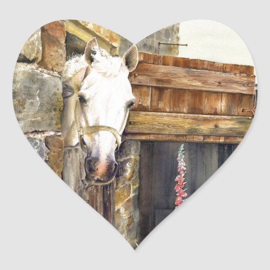 'Naughty Boy' white horse in a barn Heart Sticker