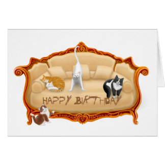 Naughty Couch Cats Birthday Card