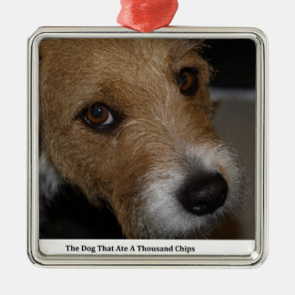 Naughty Dog Ate The Chips Bad Dog Ate The Cheese Metal Ornament