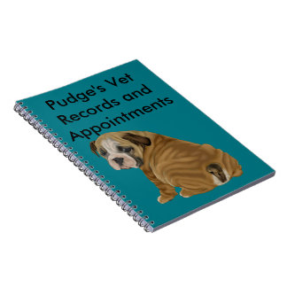 Naughty English Bulldog Puppy Spiral Note Books