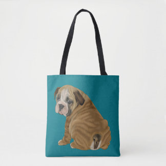 Naughty English Bulldog Puppy Tote Bag