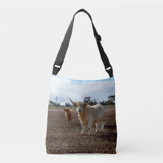 Naughty Highland Cows, Unisex Crossbody Bag. Crossbody Bag