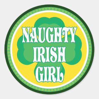 Naughty Irish Girl Classic Round Sticker