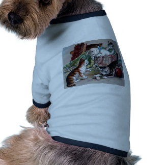 naughty kittens cats playing with yarn antique art pet tshirt