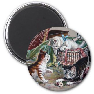 naughty kittens cats playing with yarn antique art magnet