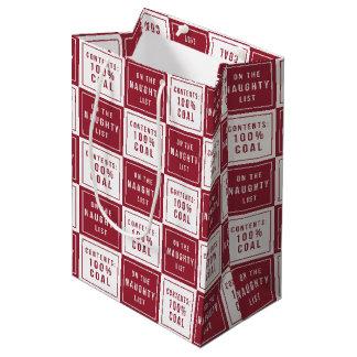 Naughty List 100% Coal | Funny Christmas Medium Gift Bag