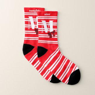 Naughty Nice Candy Red Striped Christmas Socks 1