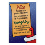 Naughty / Nice list for ASL students. Posters