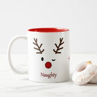 Naughty & Nice Personalized Reindeer Two-Tone Coffee Mug
