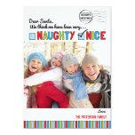 "Naughty or Nice Family Christmas Photo Card 5"" X 7"" Invitation Card"