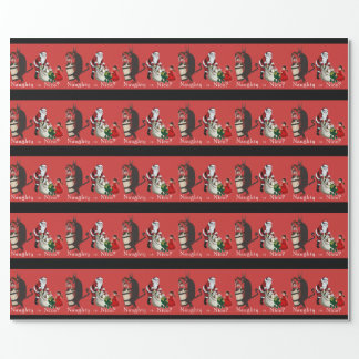 Naughty or Nice Krampus and Santa Wrapping Paper
