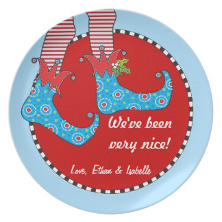 Naughty or Nice Personalized Merry Elf Feet Plate